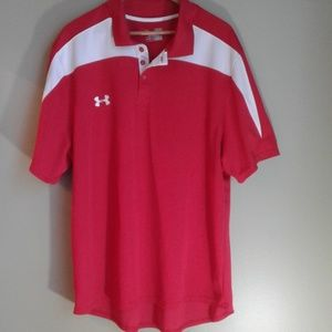 Under Armour red & white men's short sleeve shirt